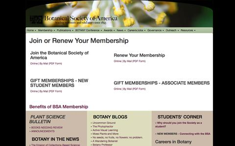 Screenshot of Signup Page botany.org - Join the BSA - Renew Your Membership, Botanical Society of America - captured Oct. 11, 2017