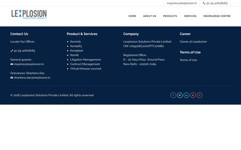 Screenshot of Products Page lexplosion.in - Products | Lexplosion Solutions - captured Sept. 28, 2018