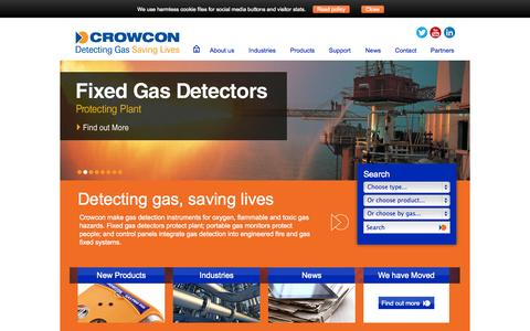 Screenshot of Home Page crowcon.com - Crowcon Detection Instruments Ltd, Gas Detection, Monitors, Control Systems, Flammable Detection Equipment - captured Oct. 10, 2014