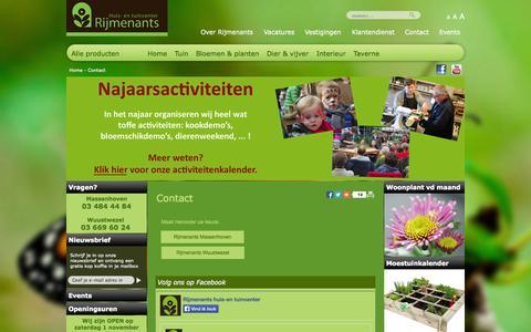 Screenshot of Contact Page rijmenants.be - contact - rijmenants - captured Oct. 26, 2014