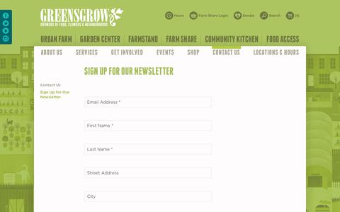 Screenshot of Signup Page greensgrow.org - Sign Up for Our Newsletter | Greensgrow : Greensgrow - captured Sept. 30, 2018