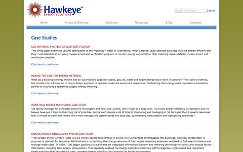 Screenshot of Case Studies Page hawkeye-es.com - Energy Management Case Studies | Utility Management Case Studies - captured Oct. 1, 2014