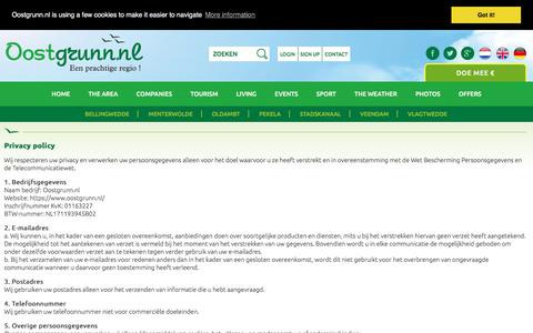 Screenshot of Privacy Page oostgrunn.nl - Privacy Policy | Oostgrunn.nl - a beautiful area - captured Oct. 20, 2017