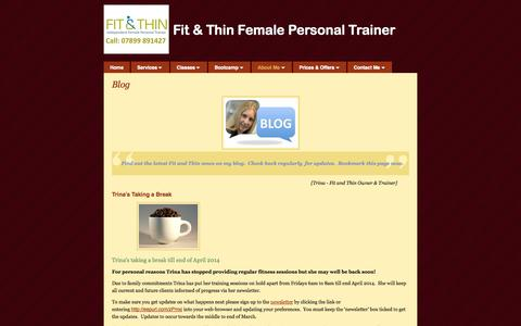 Screenshot of Blog fitandthin.org - Blog | Fit & Thin Female Personal Trainer | Fit and Thin - captured Sept. 30, 2014