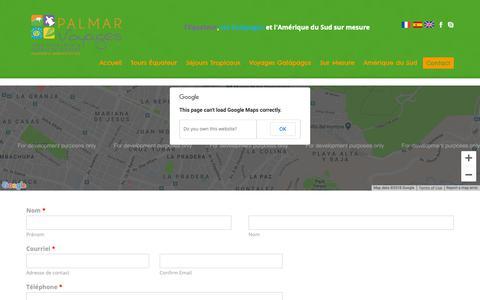 Screenshot of Contact Page palmarvoyages.com - ContactPalmarVoyages en Français - captured Oct. 21, 2018