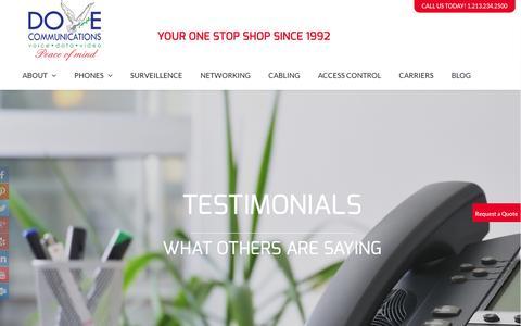 Screenshot of Testimonials Page dovecommunications.com - Testimonial Dove Communications Inc - captured Feb. 9, 2016