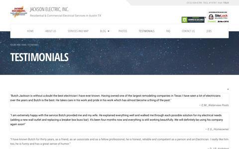 Screenshot of Testimonials Page jacksonelectricalinc.com - Testimonials | Jackson Electric, Inc. - captured Nov. 26, 2016