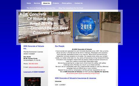 Screenshot of About Page myconcrete.net - KDK Concrete-Concrete contractor -Ormond Beach-Daytona Beach-Orlando concrete parking lots concrete slabs concrete curb gutter - About Us - captured Feb. 12, 2016