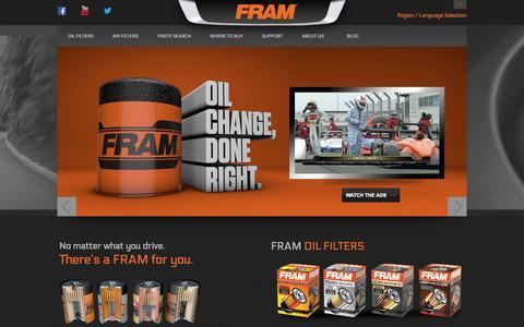 Screenshot of Home Page fram.com - Oil Filters and Air Filters   FRAM - captured Jan. 27, 2015