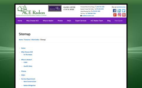 Screenshot of Site Map Page aceradon.com - Ace Radon, Radon, Radon Mitigation, radon experts, mitigation systems, Front Range, Colorado Radon, Colorado, Radon Gas, colorless gas, radon professional, radon specialist, radon contractors, building, development, pre-construction, radon test, rado - captured Nov. 12, 2018