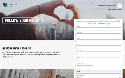 Screenshot of Landing Page culturalcare.com - Aupair Childcare - captured June 12, 2017