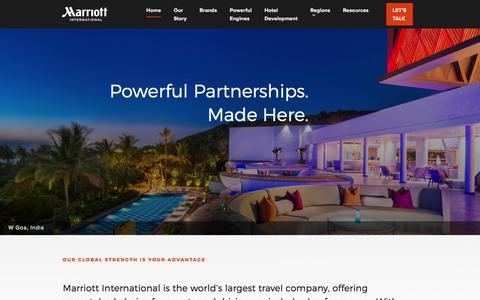 Screenshot of Developers Page marriott.com - Marriott International Hotel Development - captured Aug. 20, 2018