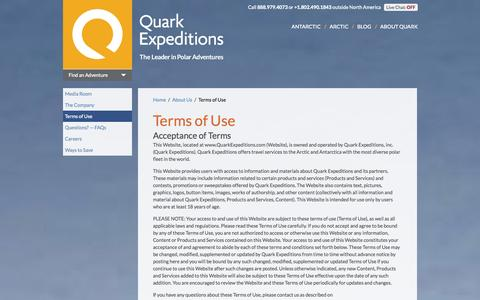Screenshot of Terms Page quarkexpeditions.com - Terms of Use | Quark Expeditions - captured Sept. 19, 2014