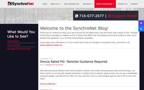 Screenshot of Blog synchronet.net - Blog - captured Oct. 7, 2014