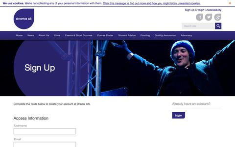 Screenshot of Signup Page dramauk.co.uk - Sign Up - Drama UK - captured Sept. 30, 2014
