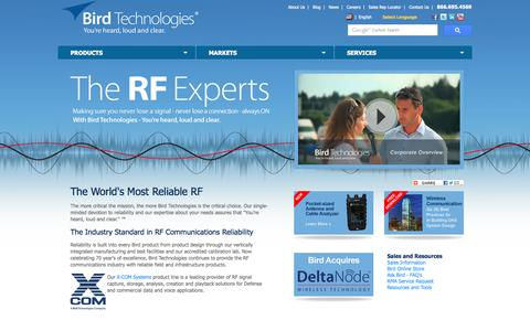 Screenshot of Home Page birdrf.com - Welcome to Bird Technologies   The RF Experts   The Industry Standard in RF Communications - captured Oct. 5, 2014
