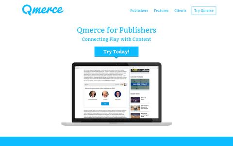 Screenshot of Home Page qmerce.com - Qmerce - Connecting Play with Content - captured July 11, 2014