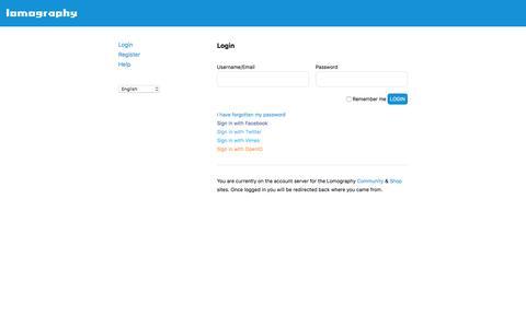 Screenshot of Login Page lomography.com - Account · Lomography - captured Sept. 17, 2016