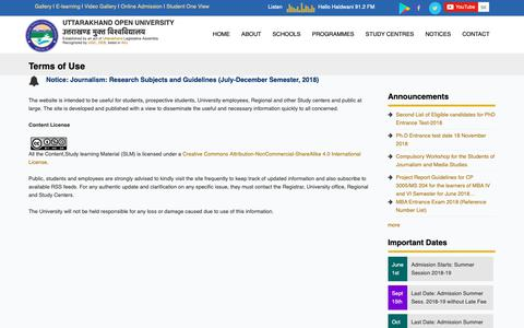 Screenshot of Terms Page uou.ac.in - Terms of Use | Uttarakhand Open University - captured Oct. 19, 2018