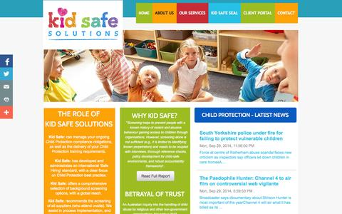 Screenshot of About Page kidsafesolutions.net - Kid Safe Solutions : About - captured Sept. 30, 2014
