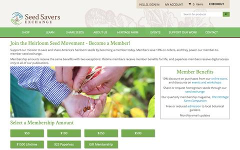 Screenshot of Signup Page seedsavers.org - Become a Member - Seed Savers Exchange - captured Aug. 22, 2016