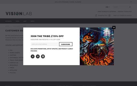 Screenshot of Support Page visionlabart.com - Customer Service – Vision Lab - captured March 5, 2017