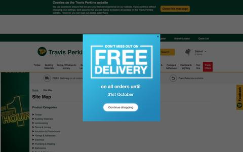 Screenshot of Site Map Page travisperkins.co.uk - Site Map | Travis Perkins - captured Oct. 27, 2017