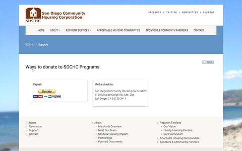 Screenshot of Support Page sdchc.org - Support | SDCHC - captured Oct. 4, 2014