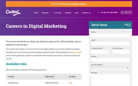 Screenshot of Jobs Page custard.co.uk - Careers in Digital Marketing - Custard - captured Feb. 13, 2019