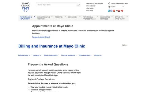 Screenshot of FAQ Page mayoclinic.org - Frequently Asked Questions - Billing and Insurance at Mayo Clinic - Billing – Insurance -  Mayo Clinic - captured Nov. 16, 2018