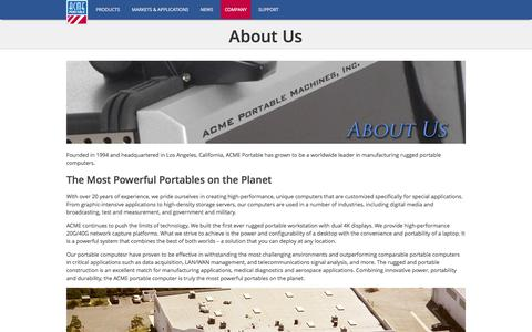 Screenshot of About Page acmeportable.com - About Us | ACME Portable - captured Sept. 19, 2014