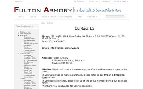 Screenshot of Contact Page fulton-armory.com - Contact Us | Buying a Gun Online | Fulton-Armory.com - captured Oct. 9, 2018