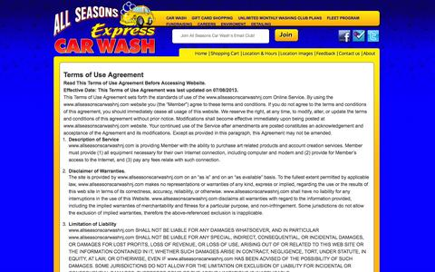 Screenshot of Terms Page allseasonscarwashnj.com - Terms of Use   Service Agreement - captured Oct. 8, 2014