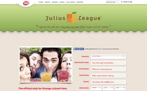Screenshot of Signup Page dairyqueen.com - Orange Julius League Fan Club - captured Oct. 31, 2014