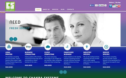 Screenshot of Home Page chakrasystems.biz - Business Outsourcing, Consulting, Cloud Computing and IT Services - captured Oct. 2, 2014