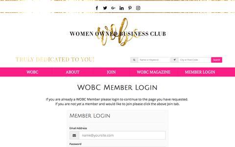 Screenshot of Login Page womenownedbusinessclub.com - Login Now - women owned business club - captured June 24, 2017