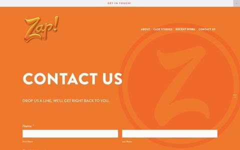 Screenshot of Contact Page zaptivity.com - Contact Us — Zap! Branding - captured Oct. 18, 2018