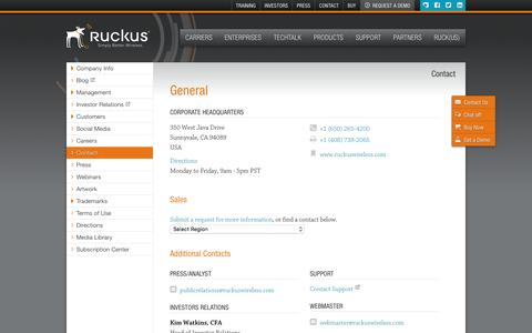 Screenshot of Contact Page ruckuswireless.com - General | Ruckus Wireless, Inc. - captured July 3, 2016