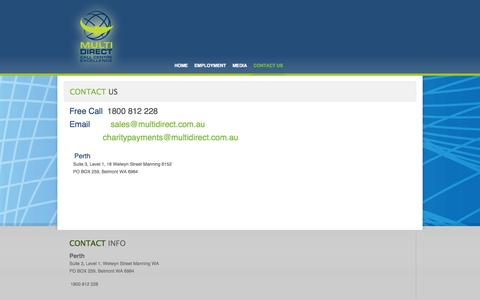 Screenshot of Contact Page multidirect.com.au - Contact Us - captured Oct. 26, 2014