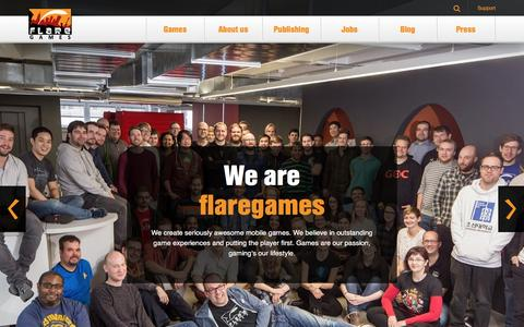 Screenshot of Home Page flaregames.com - flaregames | a mobile games company - captured Aug. 4, 2016