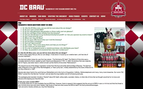 Screenshot of FAQ Page dcbrau.com - ::: DC Brau Brewing Company ::: - captured Oct. 5, 2014
