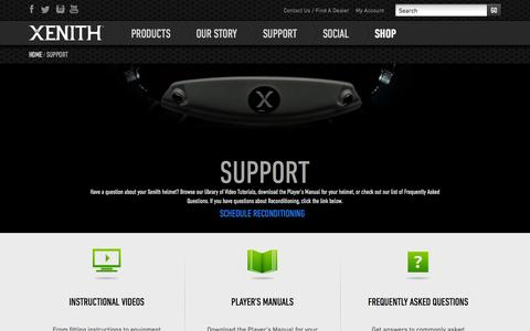 Screenshot of Support Page xenith.com - Product Support | Xenith Football Helmets | Contact Customer Service - captured Sept. 17, 2014