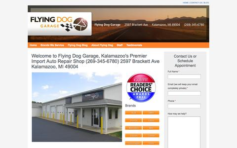 Screenshot of Home Page flyingdoggarage.com - Car and Auto Repair Kalamazoo, Foreign and Imported Vehicle Specialists - captured Sept. 30, 2014