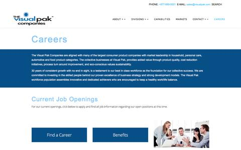 Screenshot of Jobs Page visualpak.com - Turnkey Contract Packaging Solutions - The Visual Pak Companies - captured April 15, 2018