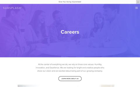 Screenshot of Jobs Page subsplash.com - Careers — Subsplash.com | Engage your audience like never before. - captured Oct. 14, 2017