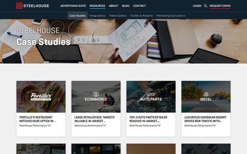 Screenshot of Case Studies Page steelhouse.com - Case Studies | SteelHouse Advertising Suite Success Stories - captured Feb. 26, 2020