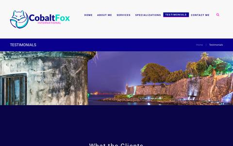 Screenshot of Testimonials Page cobaltfoxintl.com - Testimonials – Cobalt Fox International - captured Nov. 8, 2016