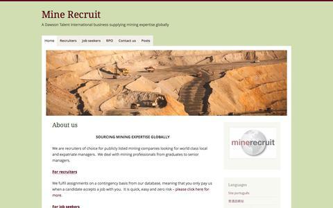 Screenshot of Home Page mine-recruit.com - Mine Recruit – A Dawson Talent International business supplying mining expertise globally - captured Nov. 29, 2016