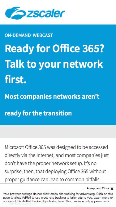 Ready for Office 365? Talk to your network first   Zscaler