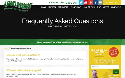 Screenshot of FAQ Page lawnmaster.co.uk - Lawn and Garden Maintenance Frequently Asked Questions - captured July 12, 2016